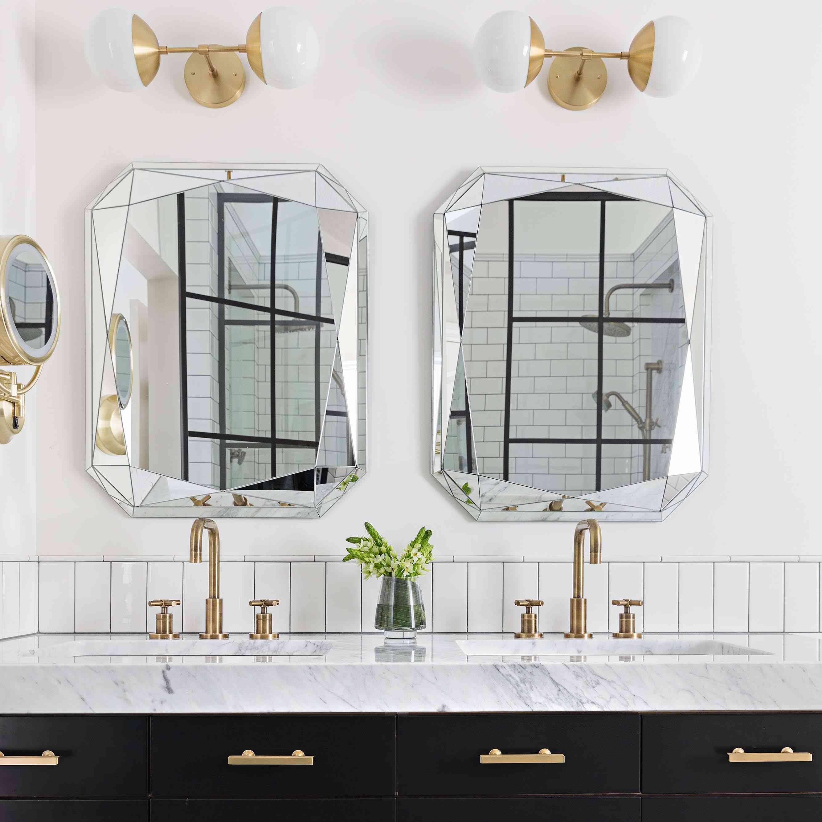 Gold and black bathroom vanity.