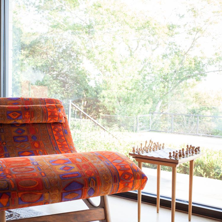 Retro orange and purple patterned sitting chair