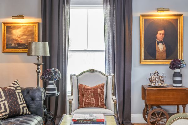 A historic home with antique art and decor.