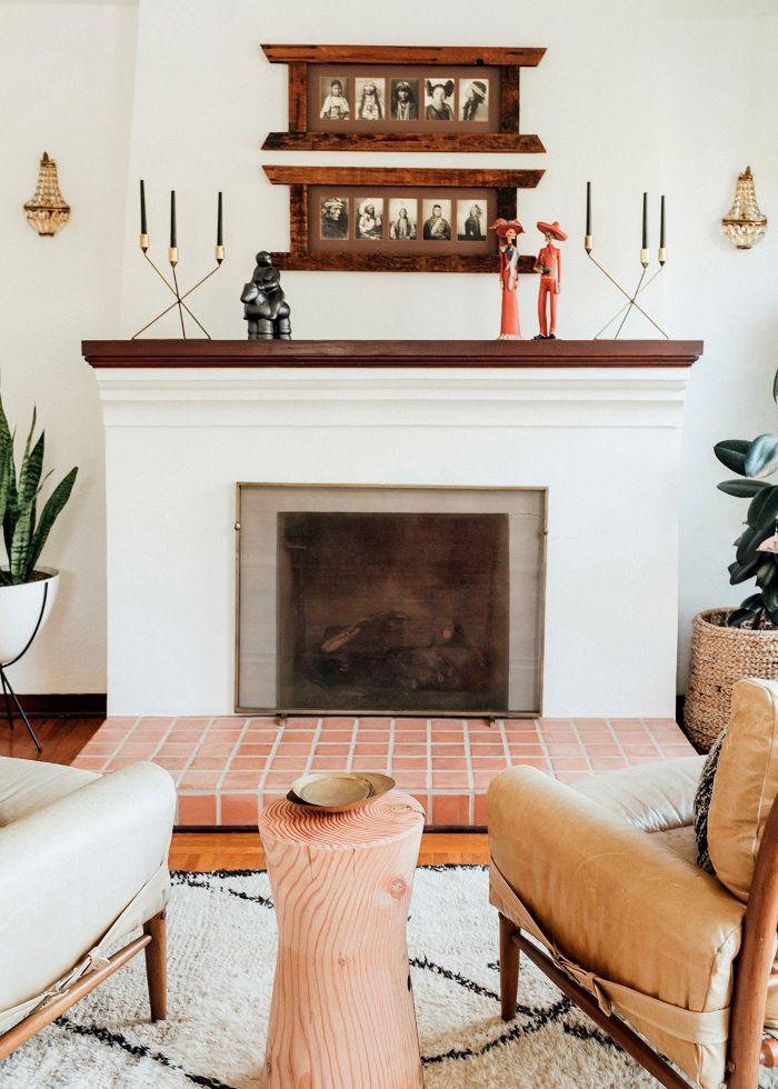 a neutral fireplace