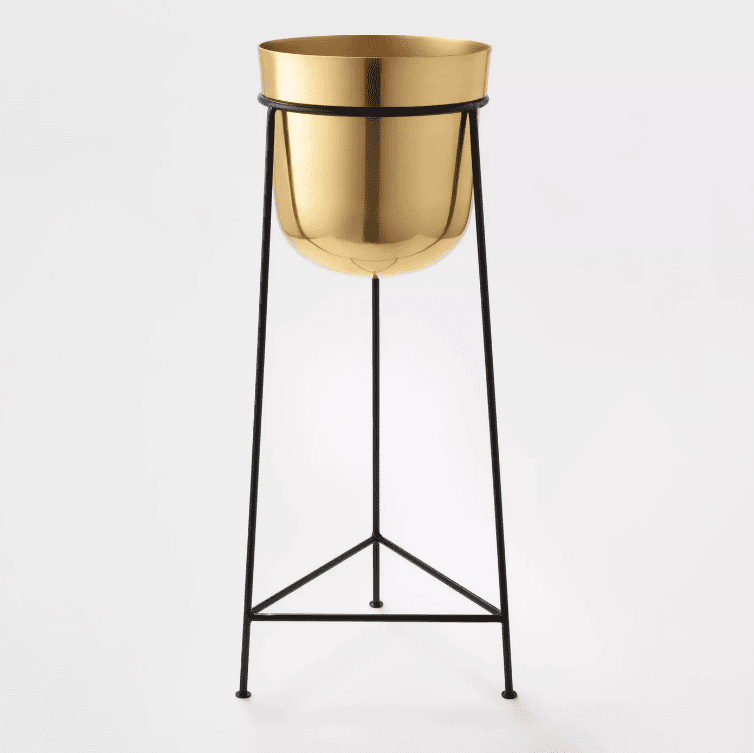 A turned-brass planter sunk into a black iron plant stand.