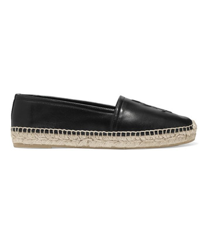 Logo-embossed Textured-leather Espadrilles
