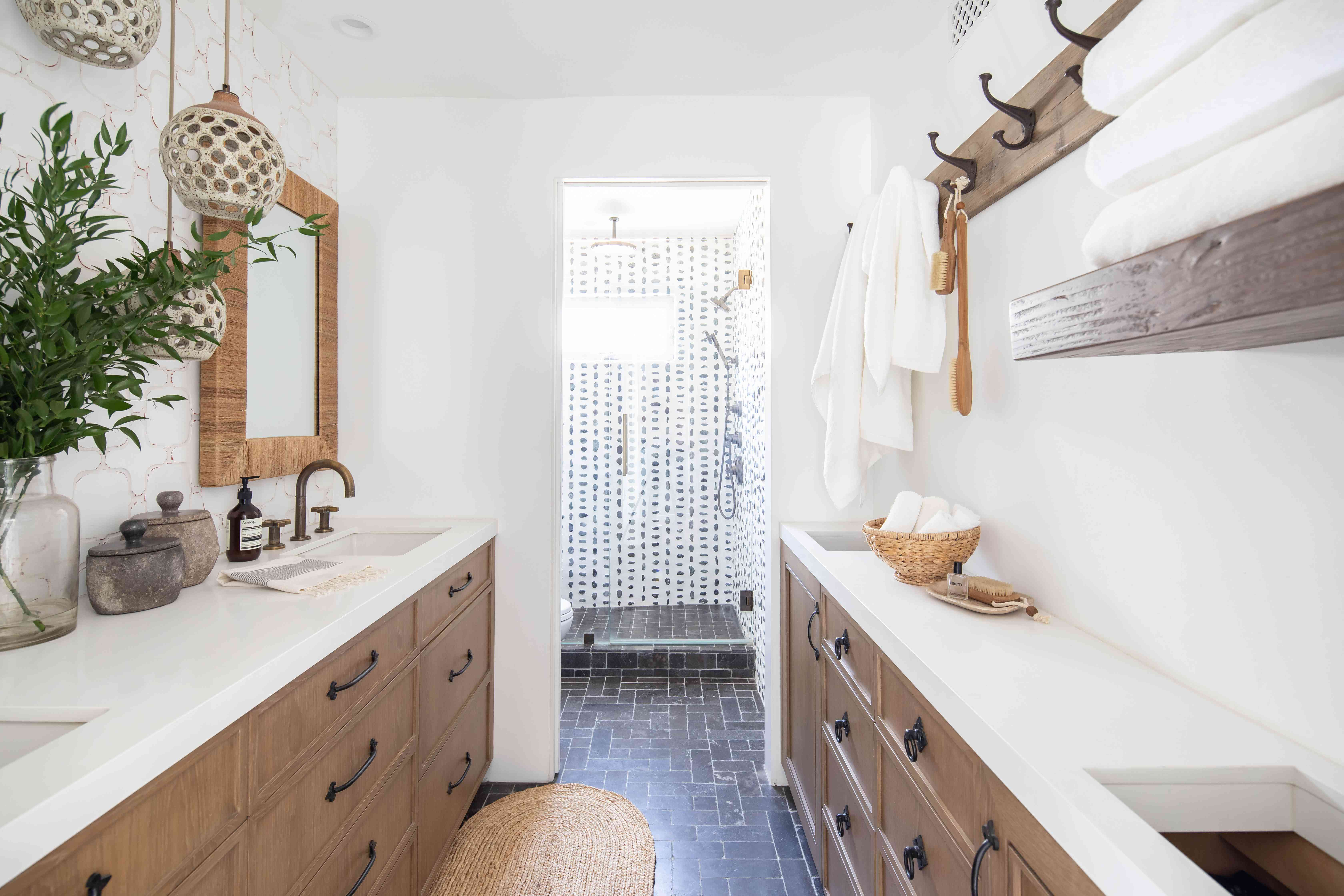 Primary bathroom with Moroccan style shower.