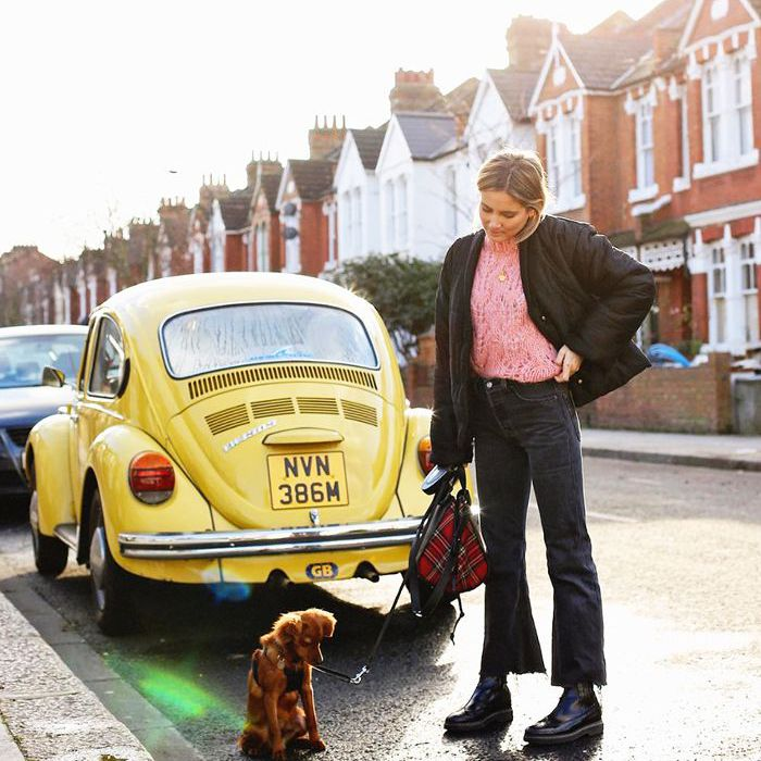 una mujer paseando a su perro