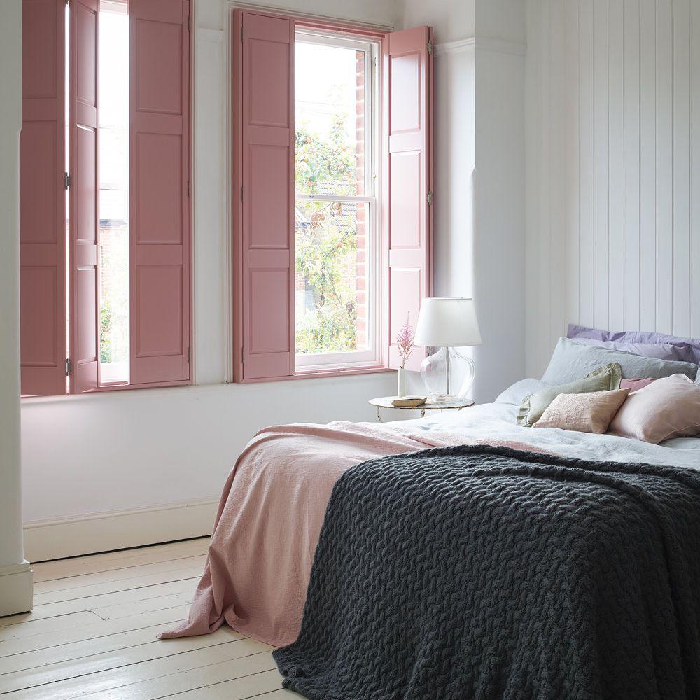 bedroom pink shutters