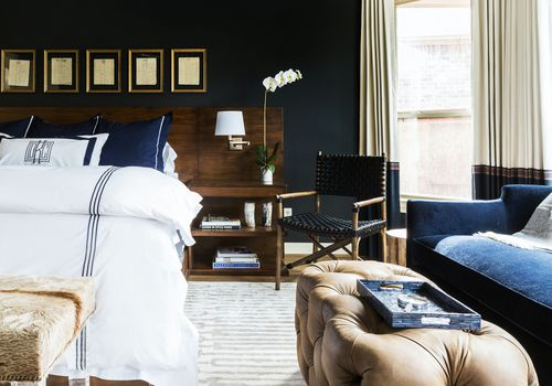 Navy and brown bedroom
