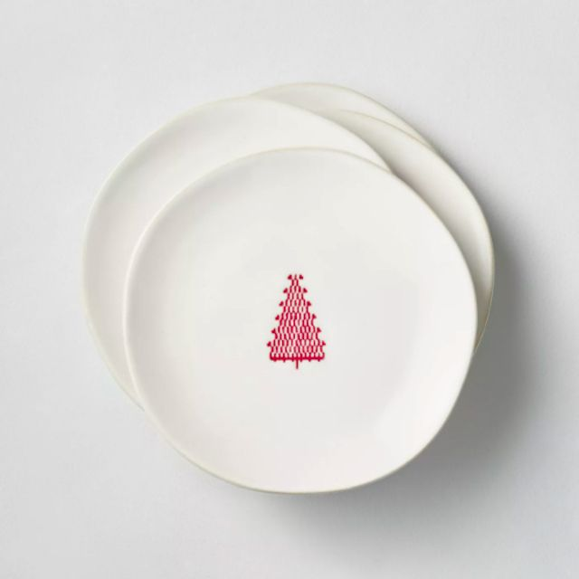Red Tree Imprinted Appetizer Plate