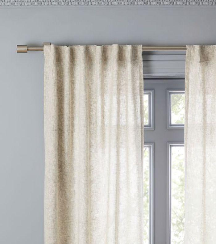 West Elm Semi-Sheer Belgian Flax Linen Dash Weave Curtain