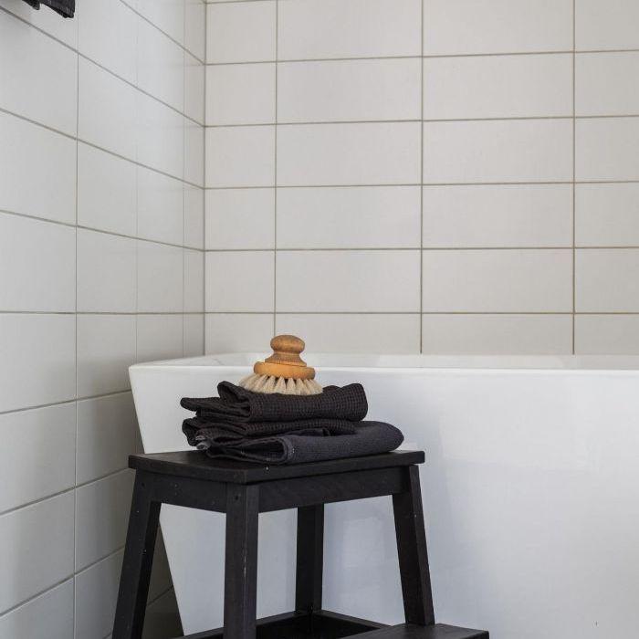 IKEA stool—Bathroom organization