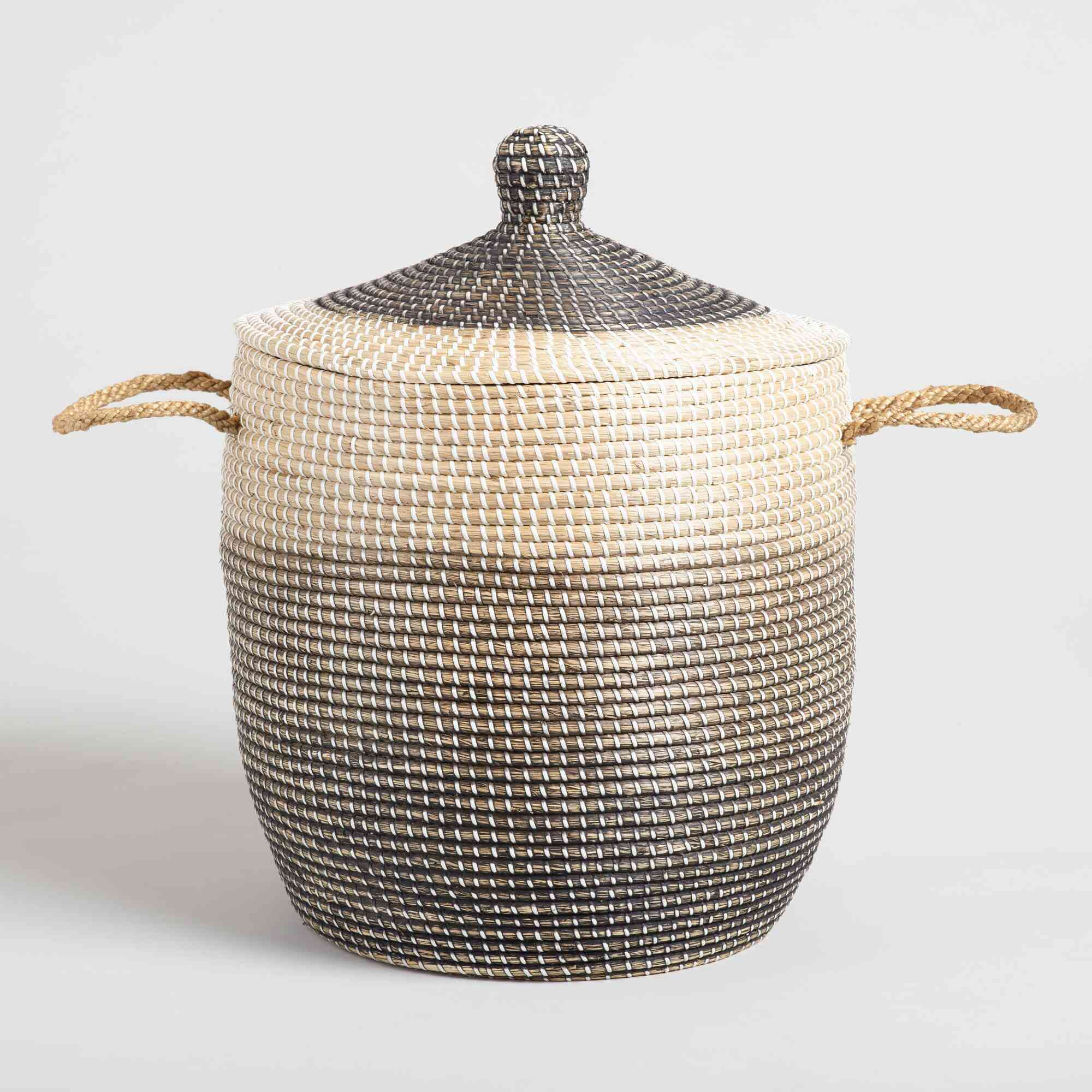 Ombre Seagrass Amelia Tote Basket With Lid