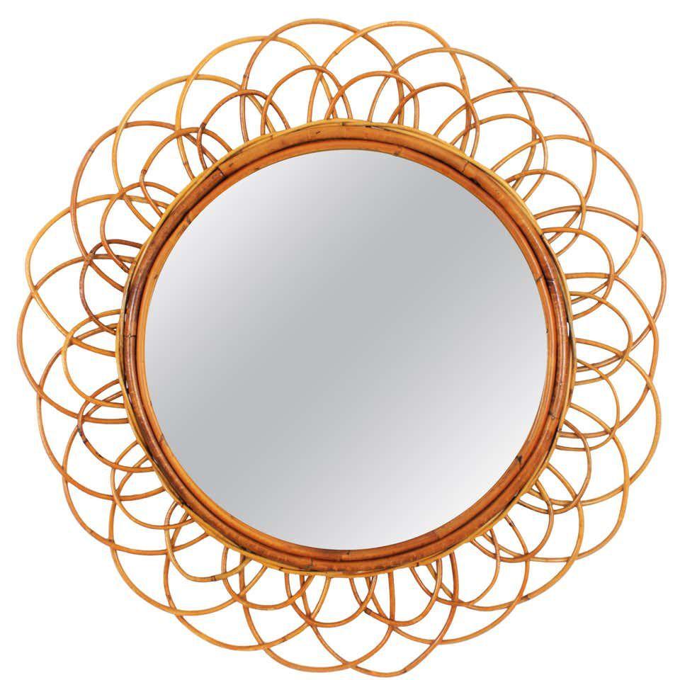 1960s Midcentury French Riviera Double Layered Rattan Flower Sunburst Mirror