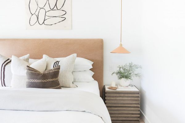white bedroom with white bedding