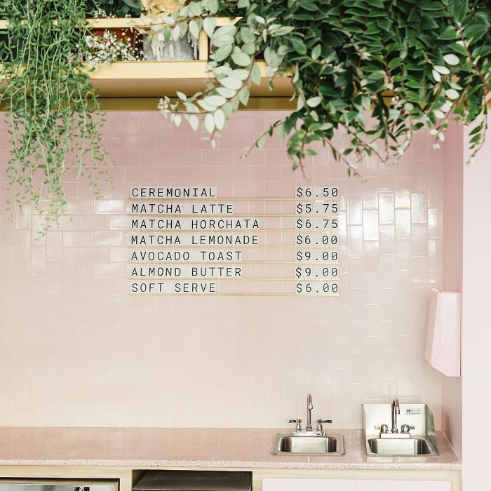 Holy Matcha—pink cafe design
