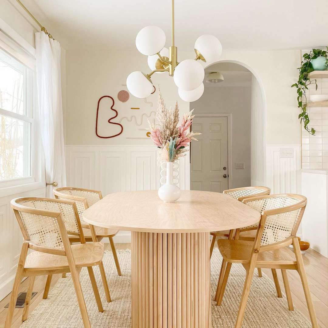 Modern minimalist dining room in a neutral color palette