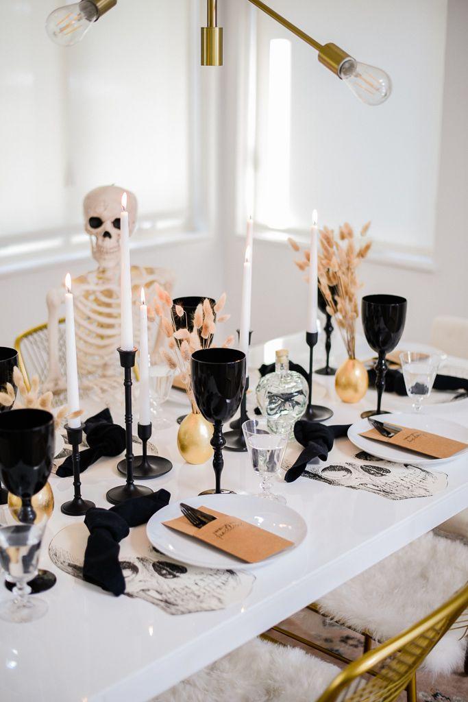 Halloween decor on table