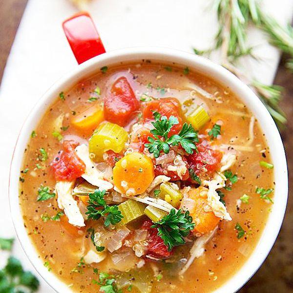 Crockpot Sopa italiana de pollo, quinua y vegetales