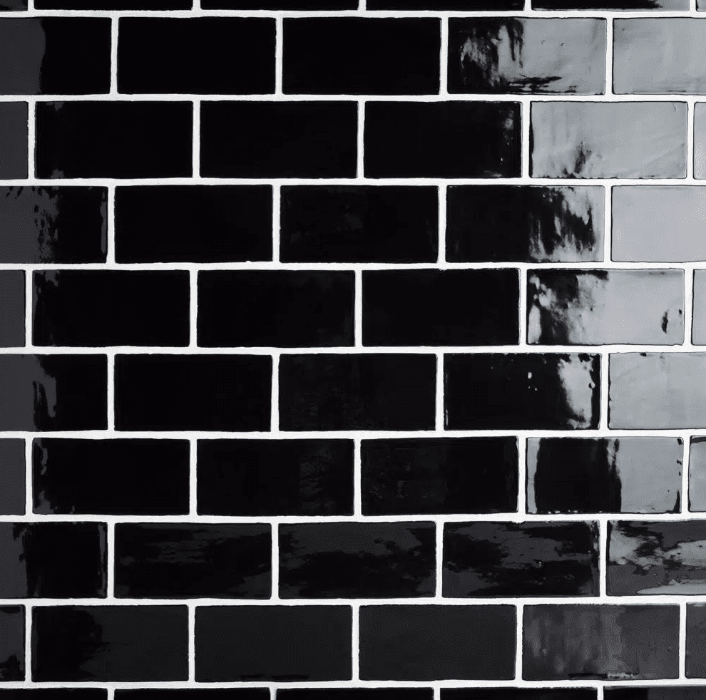 A series of black subway tiles you can buy at Home Depot