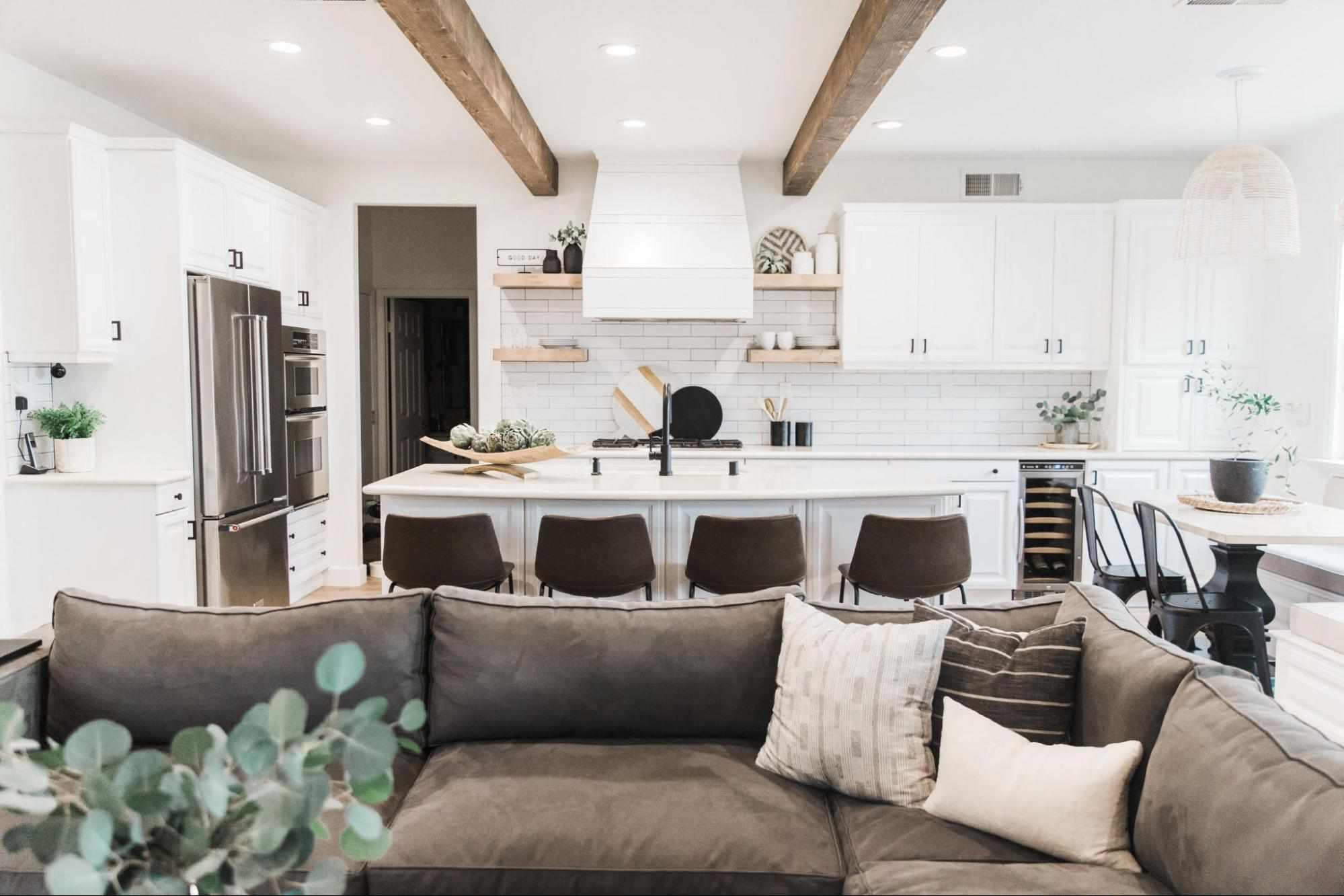 Open floor plan kitchen and living room.