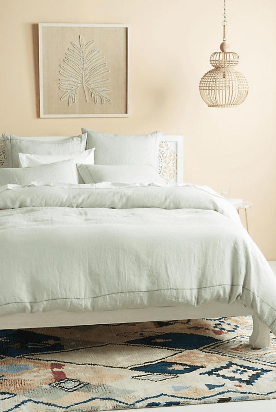 mint linen bedding