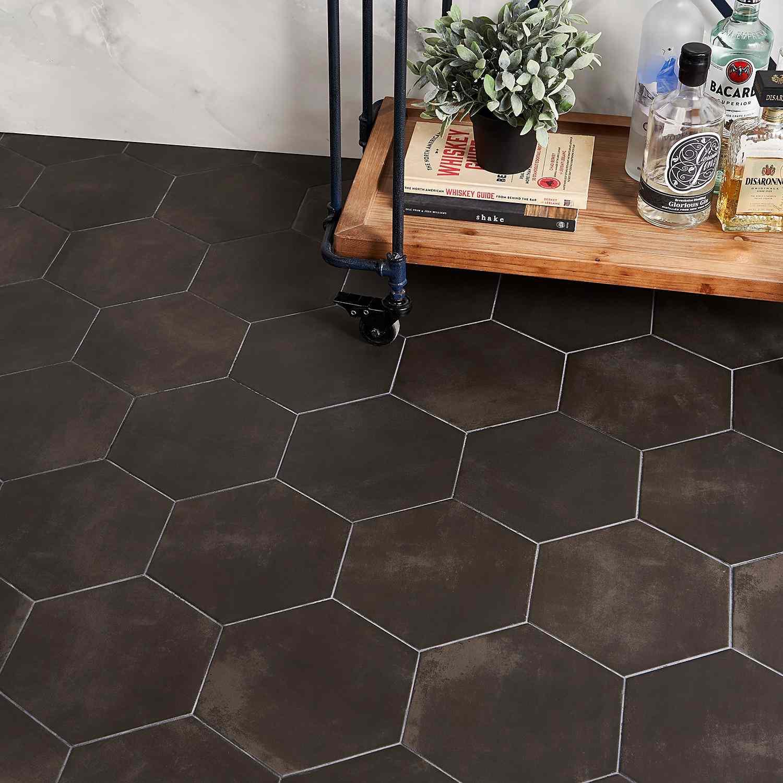 black matte hex tile