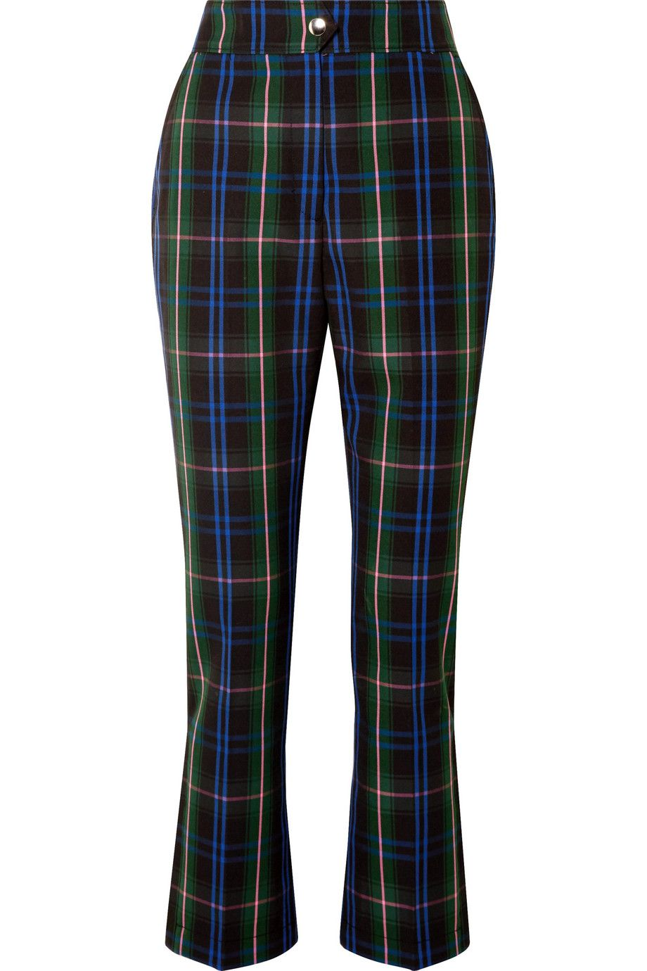 MSGM Button-detailed checked twill straight-leg pants