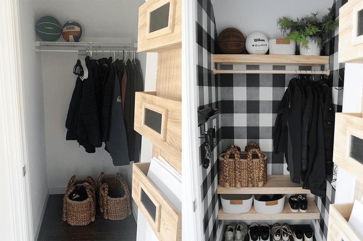 An entryway closet makeover involving wallpaper and several new shelves