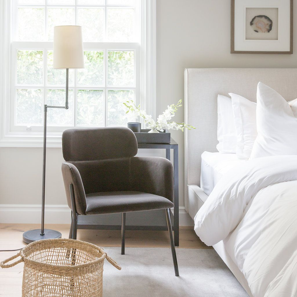 Calming bedroom in shades of gray with taupe-gray walls