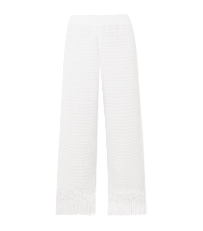 Tallulah Macramé-trimmed Pointelle-knit Cotton Pants