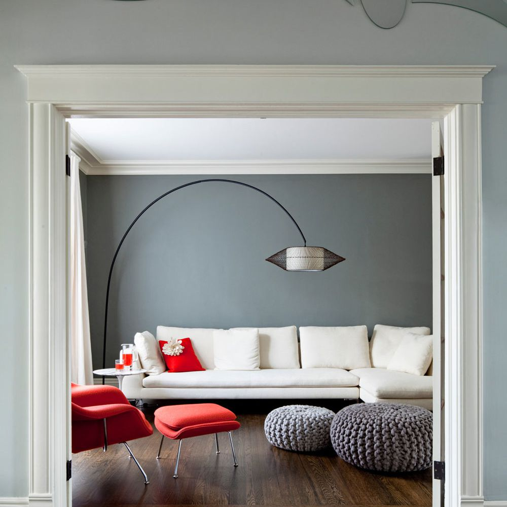 Modern living room with cool blue painted walls