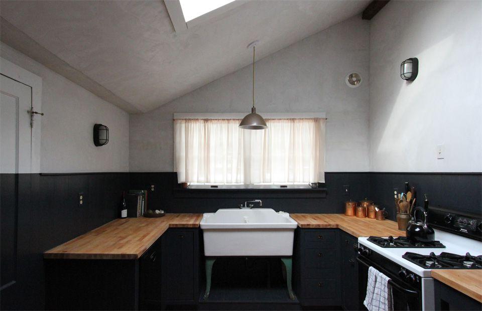 Cottage kitchen with black paint