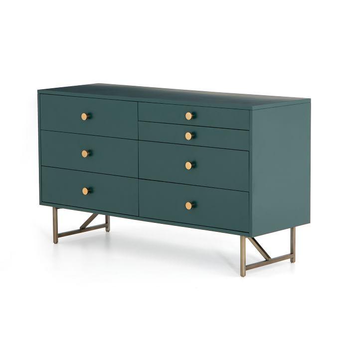West Elm Matte Wood & Brass 7-Drawer Dresser