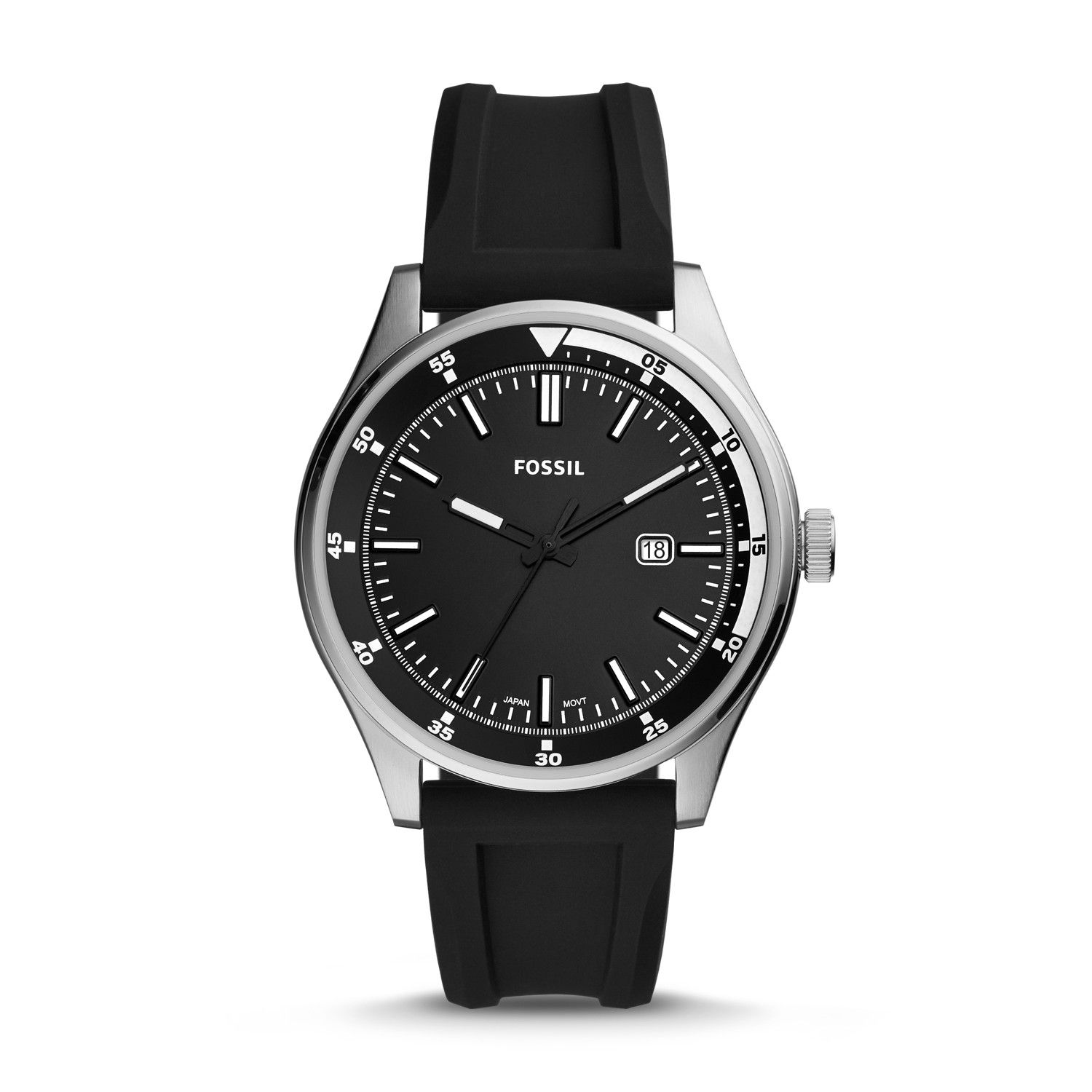 Belmar Three-Hand Date Black Silicone Watch