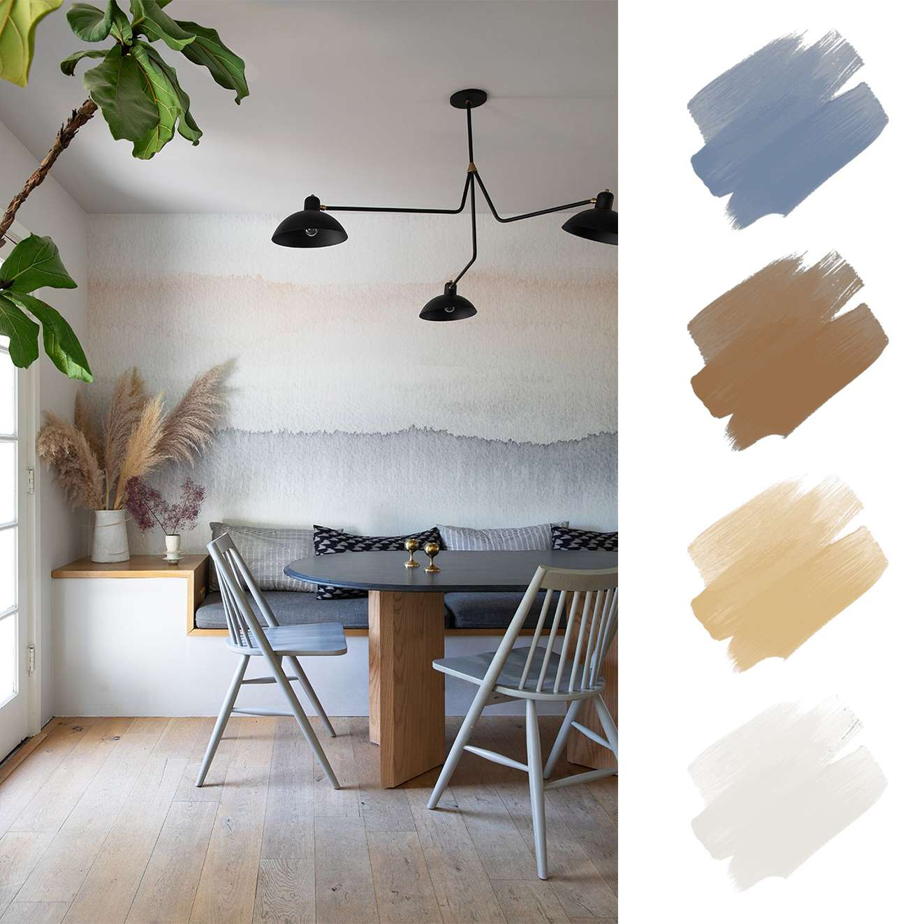 complementary color schemes - blue and orange sunset wall in dining area