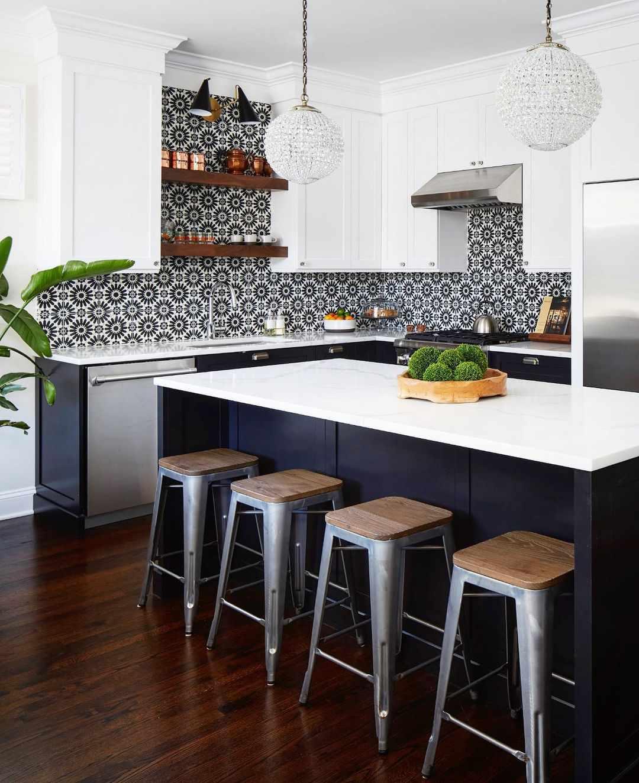 Navy blue kitchen with patterned backsplash