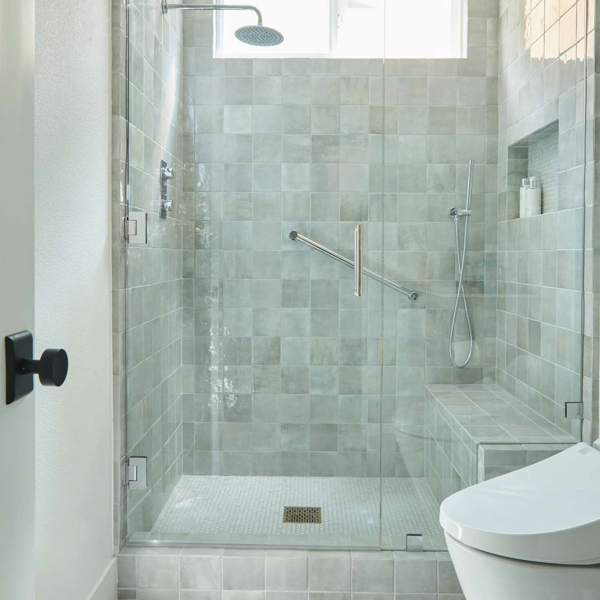 Glass door on a shower