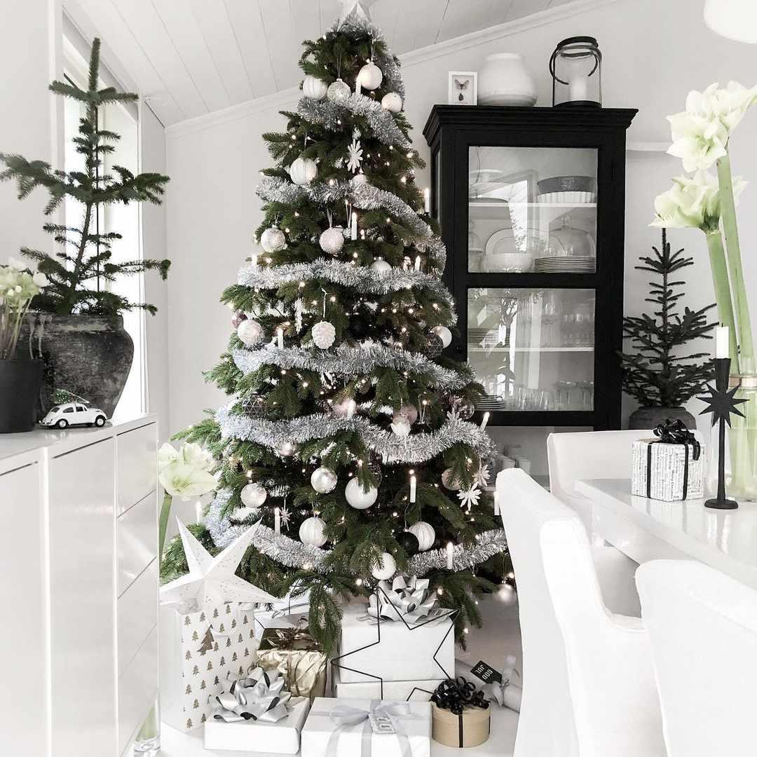 Tinsel-covered Christmas tree