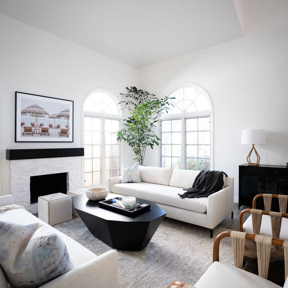 unused fireplace with seating