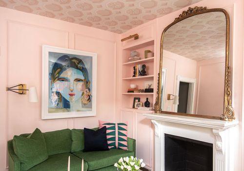 Bold pink vintage inspired living room.