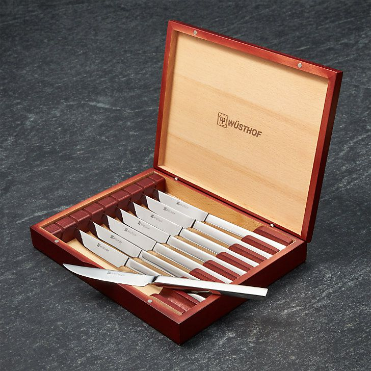 Wüsthof Eight-Piece Stainless Steel Steak Knife Set In Rosewood-Colored Chest