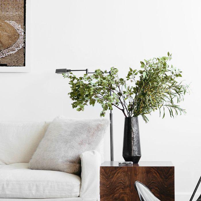 Visita a casa en blanco y negro: sofá