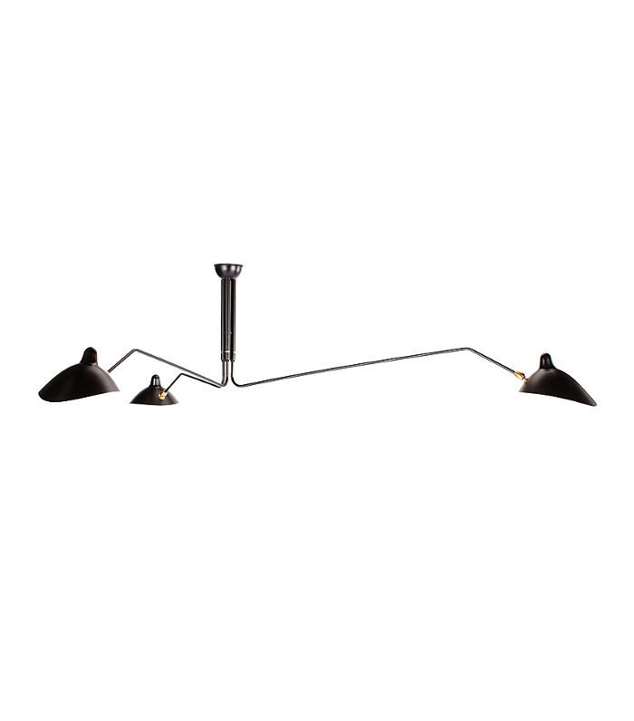 Serge Mouille Three-Arm Ceiling Lamp, Black by Design Within Reach