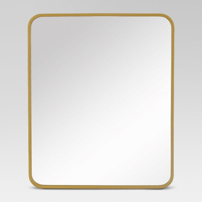 Project 62 Decorative Rectangular Wall Mirror Brass