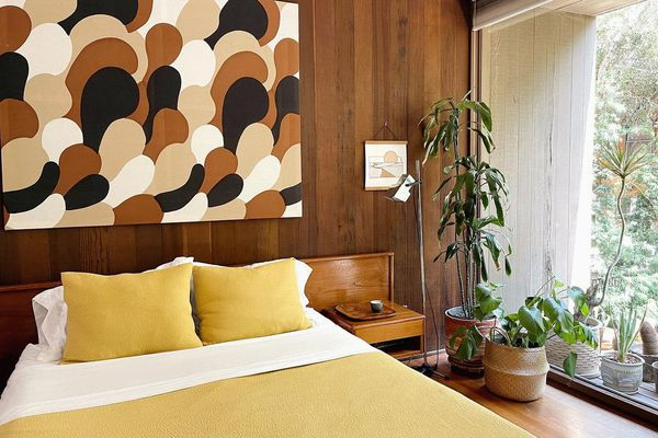 Bedroom with 70s wood paneling