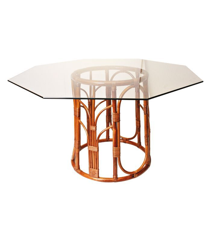 Vintage Bamboo and Octagon Glass Top Dining Table