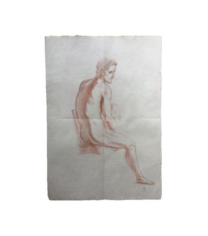 Chairish Vintage Original Male Nude Drawing