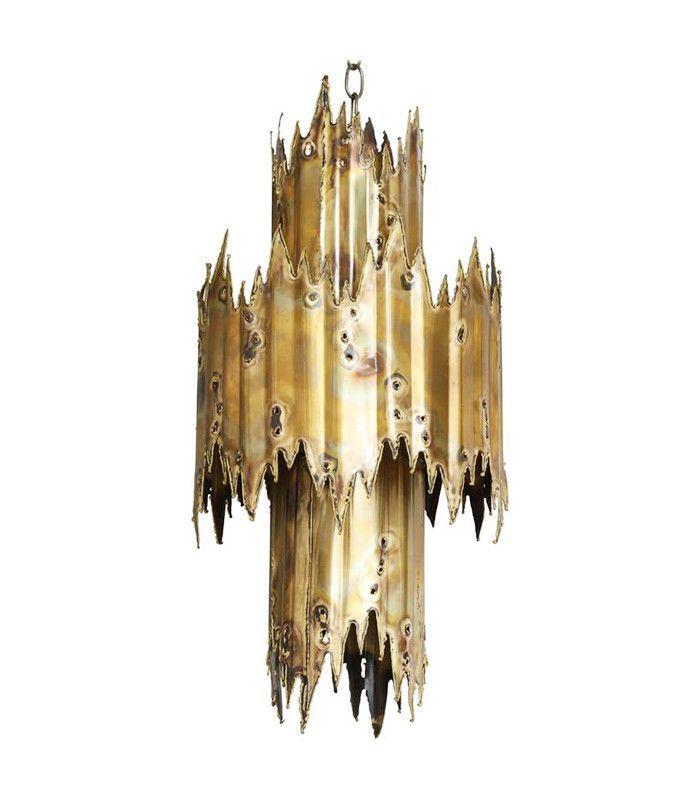 Burnishes bronze, jagged chandelier