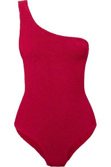 Nancy One-shoulder Seersucker Swimsuit