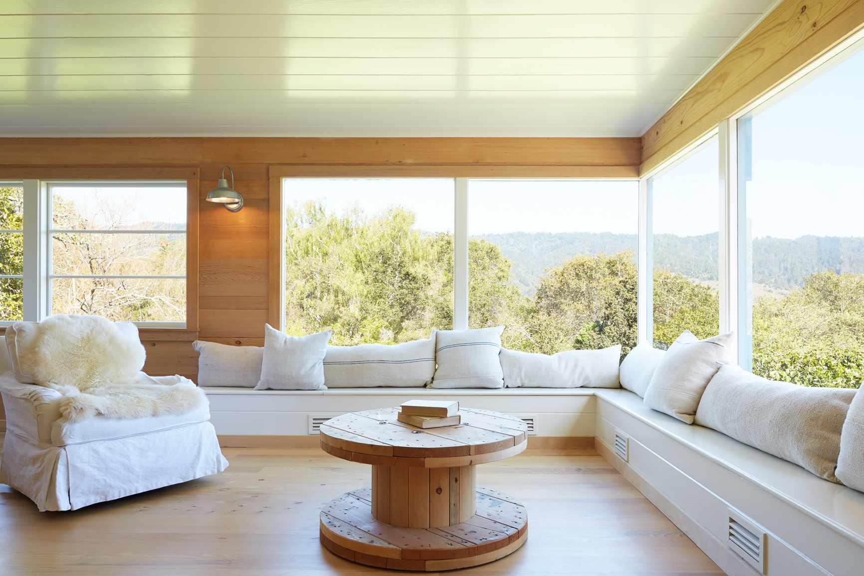 white wood paneled ceiling