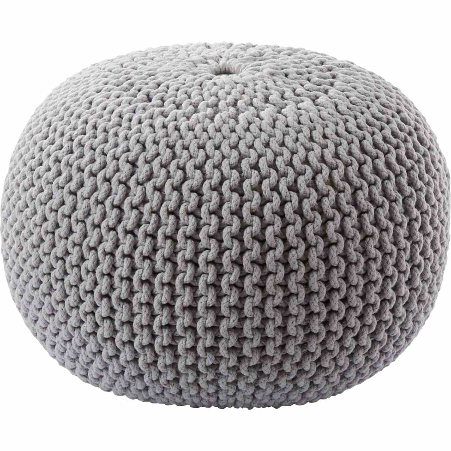 Silver Knitted Pouf