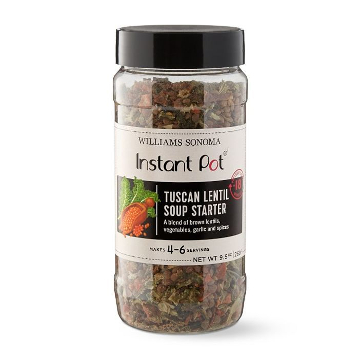 A jar of dried spices, entitled Instant Pot Tuscan Lentil Soup Starter.